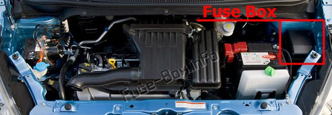 The location of the fuses in the engine compartment: Opel/Vauxhall Agila B (2008-2014)