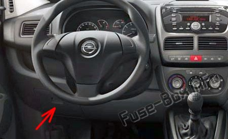 The location of the fuses in the passenger compartment: Opel/Vauxhall Combo D (2012-2018-...)