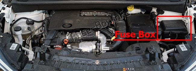 The location of the fuses in the engine compartment: Opel/Vauxhall Crossland X (2017, 2018, 2019-...)