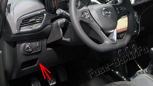 The location of the fuses in the passenger compartment (LHD): Opel/Vauxhall Corsa E (2015-2019-...)