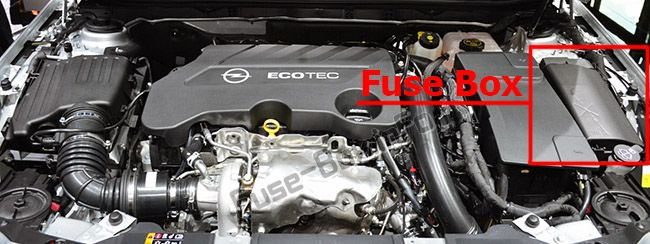 the location of the fuses in the engine compartment: opel/vauxhall  insignia a (