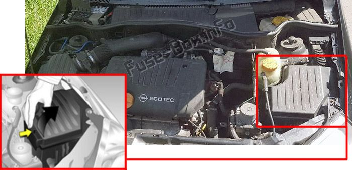 The location of the fuses in the engine compartment: Opel/Vauxhall Tigra B (2004-2009)
