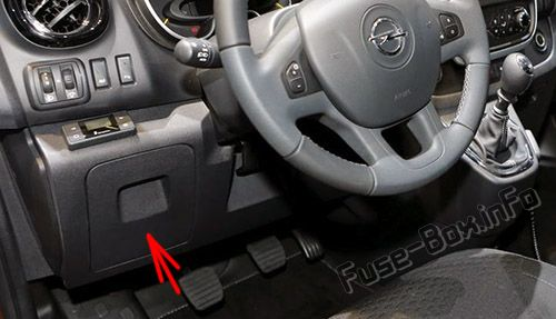 The location of the fuses in the passenger compartment: Opel/Vauxhall Vivaro B (2015-2019-..)