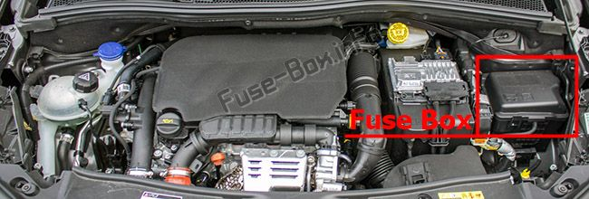 The location of the fuses in the engine compartment: Peugeot 2008 (2013, 2014, 2015, 2016)