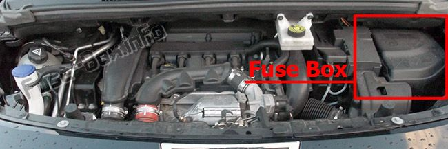 The location of the fuses in the engine compartment: Peugeot 3008 (2009-2016)