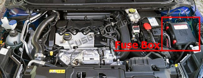 The location of the fuses in the engine compartment: Peugeot 308 (2014-2018-..)