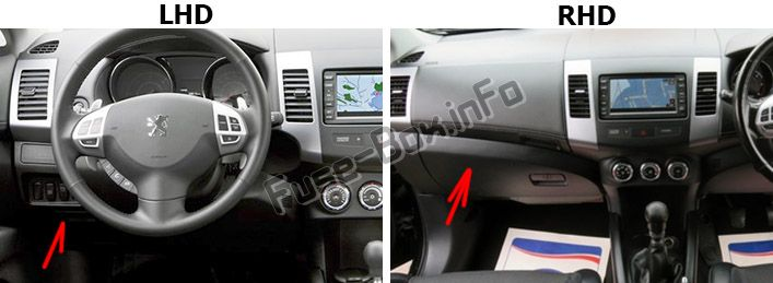 The location of the fuses in the passenger compartment: Peugeot 4007 (2007-2012)