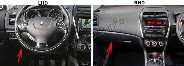 The location of the fuses in the passenger compartment: Peugeot 4008 (2012-2017)
