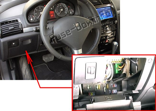 The location of the fuses in the passenger compartment (RHD): Peugeot 407 (2004-2010)