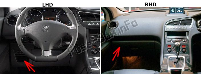 The location of the fuses in the passenger compartment: Peugeot 5008 (2009-2016)