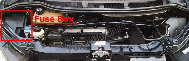 The location of the fuses in the engine compartment: Peugeot 807 (2002-2014)