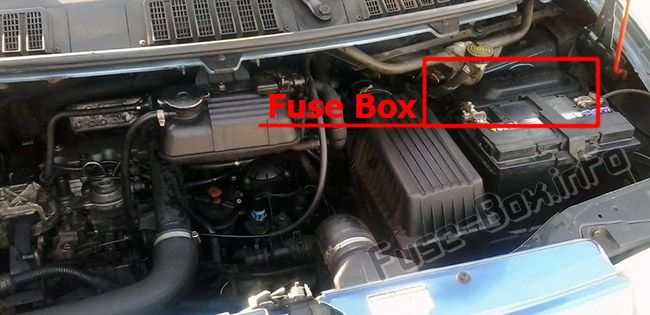 The location of the fuses in the engine compartment: Peugeot Expert (2001-2006)