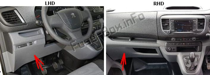The location of the fuses in the passenger compartment: Peugeot Expert VU / Traveller (2016-2019..)