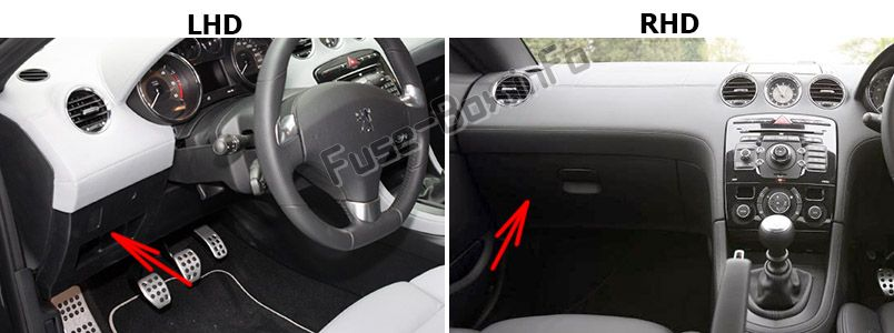 The location of the fuses in the passenger compartment: Peugeot RCZ (2009-2015)