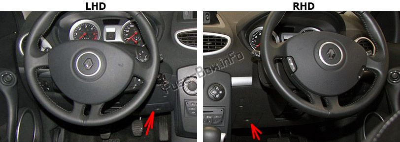 The location of the fuses in the passenger compartment: Renault Clio III (2006-2012)