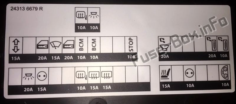 Instrument panel fuse box diagram: Renault Kadjar (2015, 2016, 2017, 2018-...)