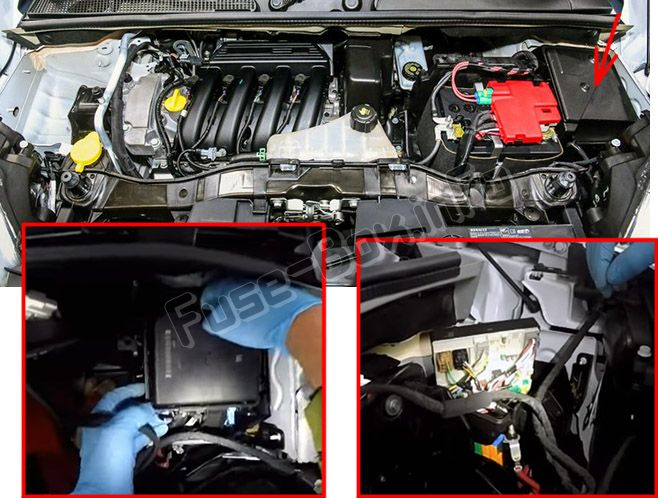 The location of the fuses in the engine compartment: Renault Kangoo II (2007-2018)