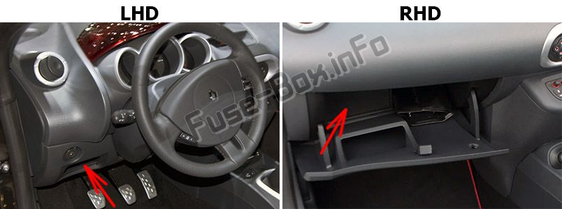 The location of the fuses in the passenger compartment: Renault Wind Roadster (2010-2013)
