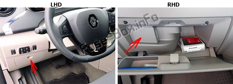 The location of the fuses in the passenger compartment: Renault Zoe (2013-2018)
