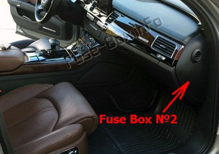 The location of the fuses in the passenger compartment: Audi A8 / S8 (D4/4H; 2011, 2012, 2013, 2014, 2015, 2016, 2017)
