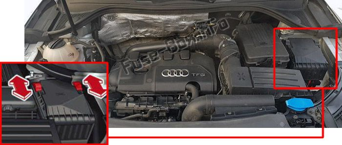 The location of the fuses in the engine compartment: Audi Q3 (8U; 2011, 2012, 2013, 2014, 2015, 2016)