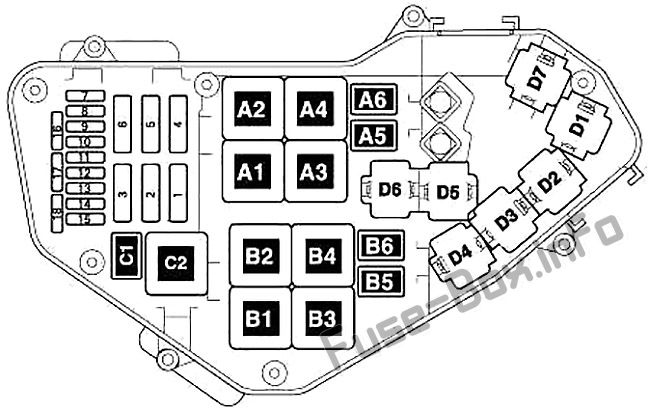 Fuse box diagram (Engine compartment): Audi Q7