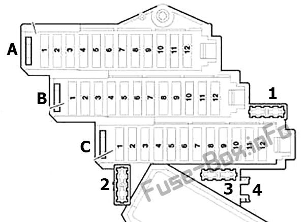 Fuse box diagram (right side of the instrument panel): Audi Q7