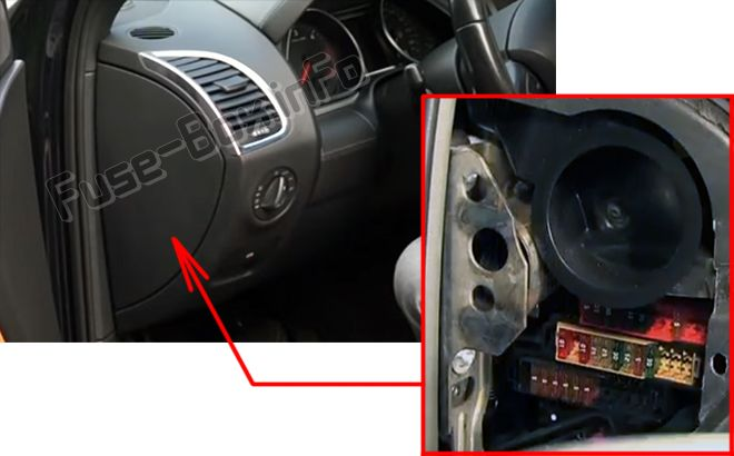 The location of the fuses in the passenger compartment (left): Audi Q7
