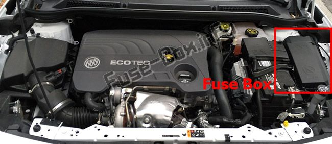 The location of the fuses in the engine compartment: Buick Cascada (2016, 2017, 2018, 2019-..)