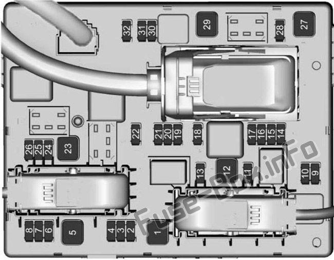 Trunk fuse box diagram: Buick Cascada (2016, 2017, 2018, 2019-..)