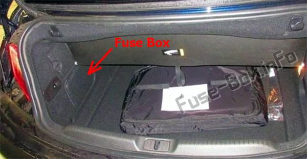 The location of the fuses in the trunk: Buick Cascada (2016, 2017, 2018, 2019-..)