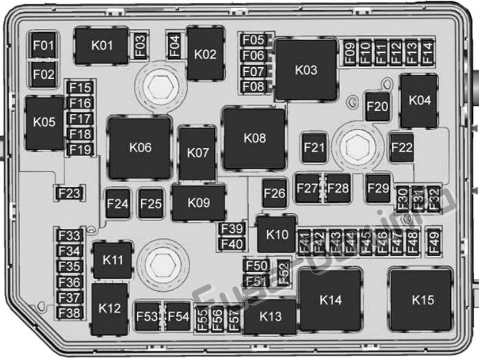 Under-hood fuse box diagram: Buick Envision (2016, 2017, 2018, 2019-..)