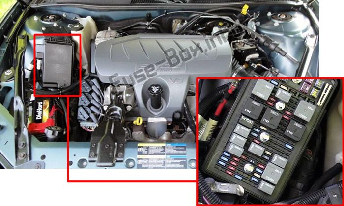 The location of the fuses in the engine compartment: Buick LaCrosse (2005, 2006, 2007, 2008, 2009)