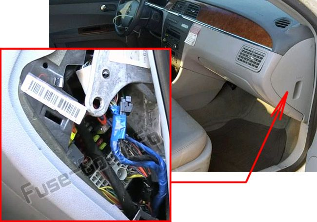 The location of the fuses in the passenger compartment: Buick LaCrosse (2005, 2006, 2007, 2008, 2009)
