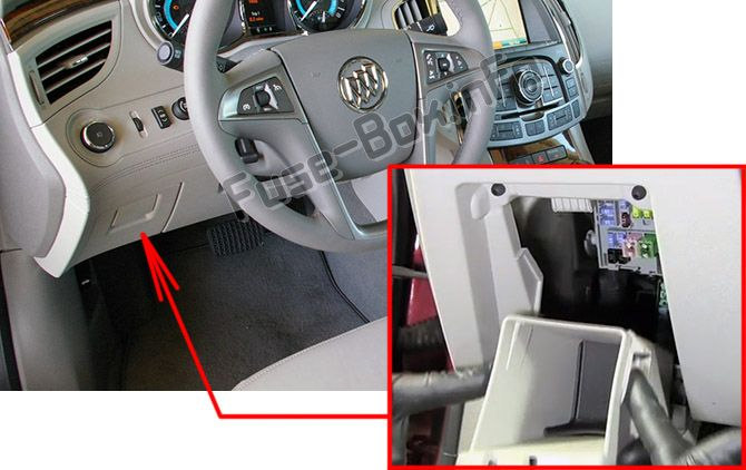 The location of the fuses in the passenger compartment: Buick LaCrosse (2010, 2011, 2012, 2013, 2014, 2015, 2016)