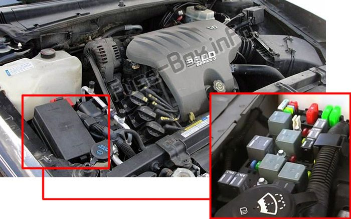 The location of the fuses in the engine compartment: Buick LeSabre (2000, 2001, 2002, 2003, 2004, 2005)