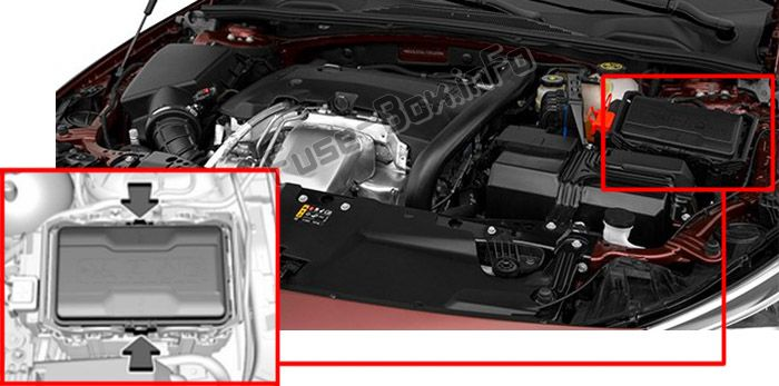 The location of the fuses in the engine compartment: Buick Regal (2018, 2019-...)