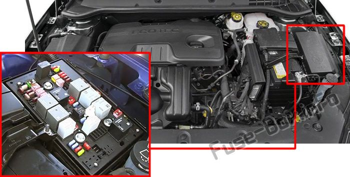 The location of the fuses in the engine compartment: Buick Verano