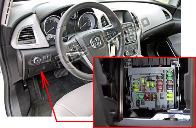 The location of the fuses in the passenger compartment: Buick Verano
