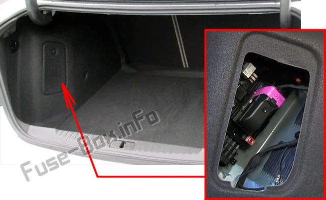 The location of the fuses in the trunk: Buick Verano
