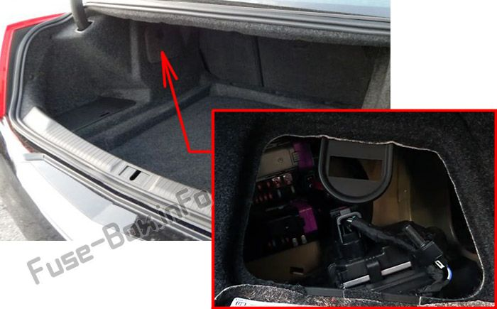 The location of the fuses in the trunk: Cadillac ATS