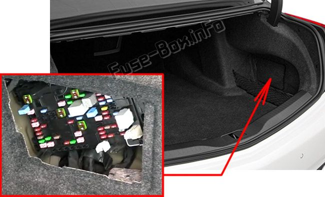 The location of the fuses in the trunk: Cadillac CT6