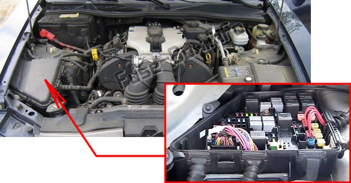The location of the fuses in the engine compartment: Cadillac CTS (2003, 2004, 2005, 2006, 2007)