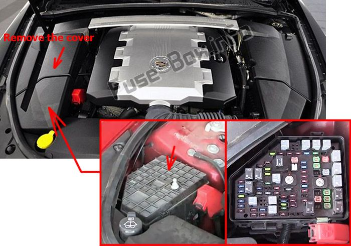 The location of the fuses in the engine compartment: Cadillac CTS (2008, 2009, 2010, 2011, 2012, 2013, 2014)