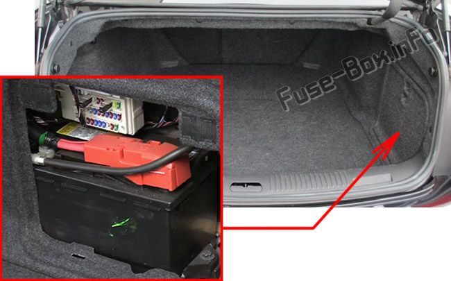The location of the fuses in the trunk: Cadillac CTS (2008, 2009, 2010, 2011, 2012, 2013, 2014)