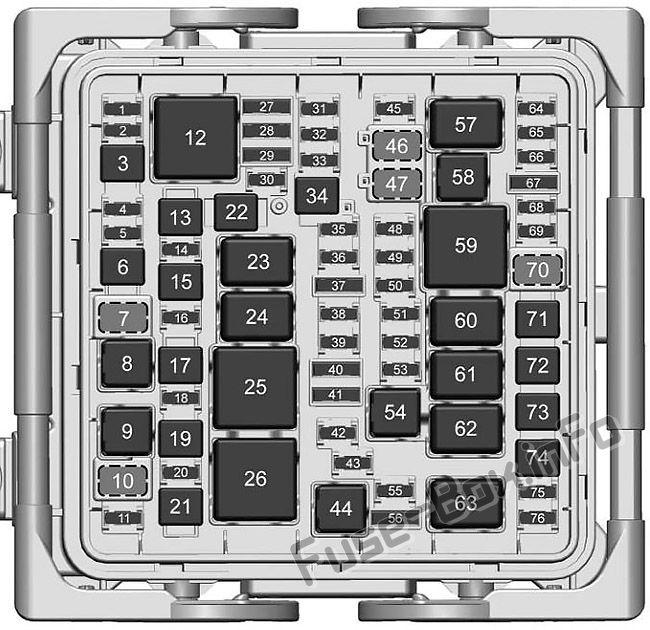 Under-hood fuse box diagram: Cadillac CTS (2017)