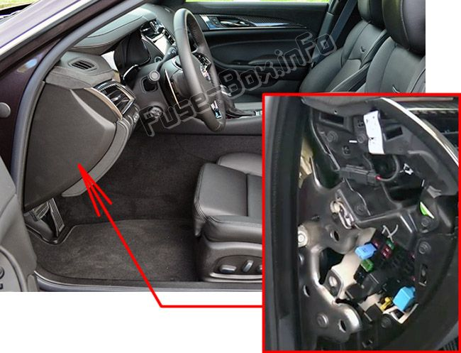 The location of the fuses in the passenger compartment: Cadillac CTS (2014, 2015, 2016, 2017)