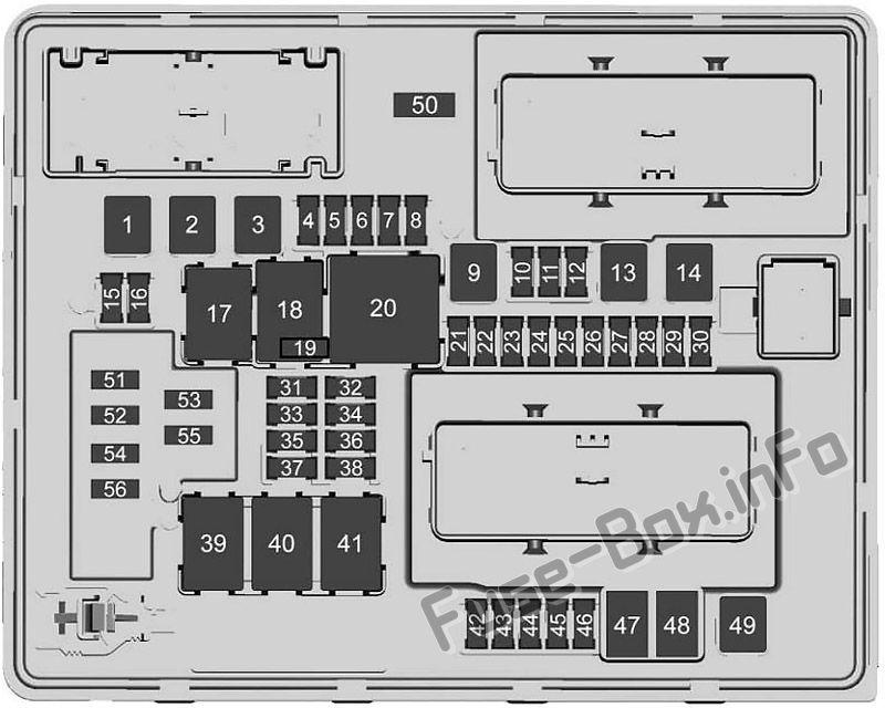 Trunk fuse box diagram: Cadillac CTS (2014, 2015, 2016, 2017)