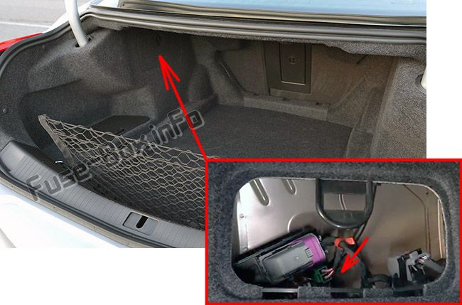 The location of the fuses in the trunk: Cadillac CTS (2014, 2015, 2016, 2017)