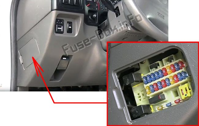 The location of the fuses in the passenger compartment: Isuzu Rodeo / Amigo (1998-2004)